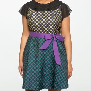 Eloquii Jacquard Fit & Flare Dress